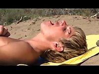 Gay hard anal fuck on the beach