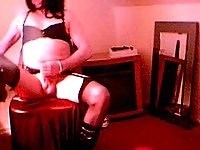 Plump Transsexual In Lingerie Abusing Himself