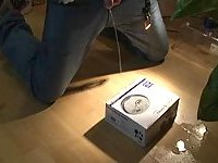 Depraved Guy Pissing In A Box With Content