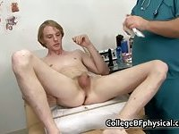 Corey gets his cock examined and gets jerked by doctor