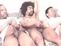 Horny Ebony Trio Beating Off
