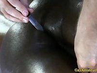 Black muscle jock blows his load