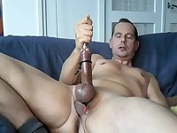 Naughty Guy Stuffing Cock On Couch