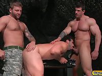 Army threesome in the bunker sucking big cocks and anal fucking