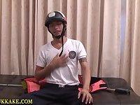 Cop asian twink guzzles