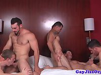 Muscular jocks cocksucking group session