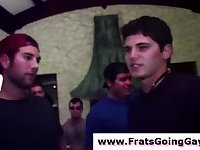 Group of straight teens in gay fraternity masturbate