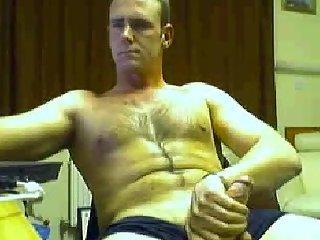 Half-naked boy homemade masturbation