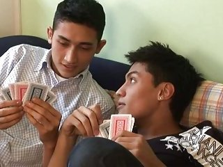 Hot teens fucking after playing cards