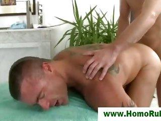 Straigh guy drills masseur hard