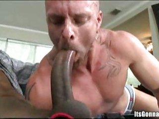 White guy struggles with big black dick