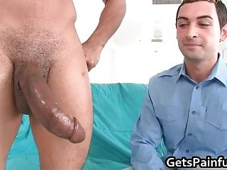 Tattooed homo boy gets huge black cock up the anus