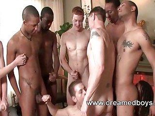 Orgy of gay sperm flood