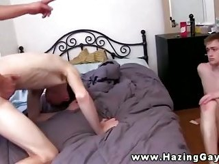 Gay pledges hazed by getting buttholes fucked hard