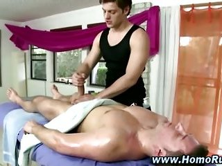 Straight guy cock sucked by gay masseuse