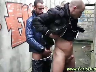 Horny gay frenchies outdoors get