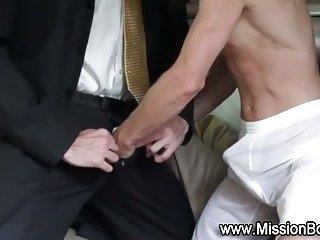 Righteous gay eats cock uniform cock