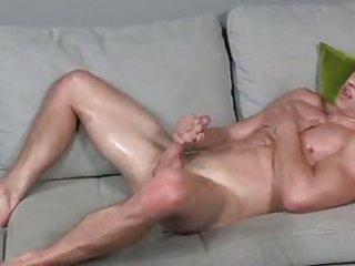 Guy jerking his cock
