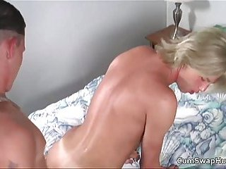 Cute blonde dude gets to suck stiff rod and fuck up tight butt