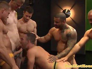 Muscular gaysex jock in group suckfest
