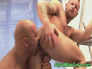 Muscular hunk duo suck and fuck close up