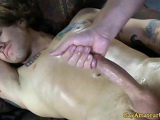 Tattooed straight jock blows his load