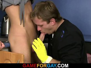Cute plumber sucks and rides his horny cock
