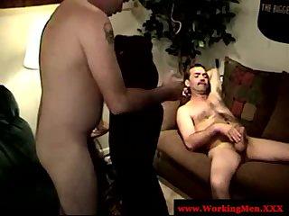 Masculine hairy bears jerking cock