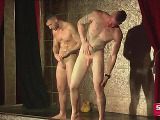 Unusual striptease with hot guys
